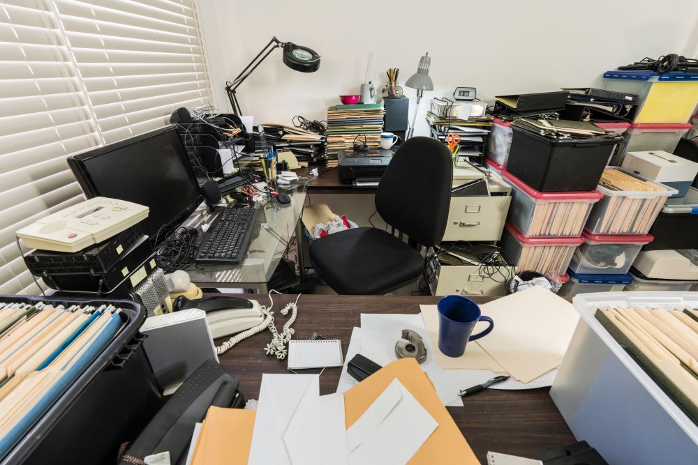 Cluttered office - get some space